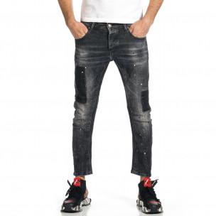 Мъжки черни дънки Cropped Destroyed Paint Adrexx