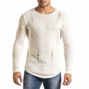 Мъжки бял пуловер структурирана плетка