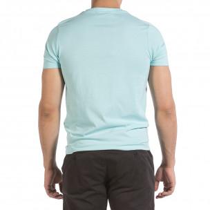 Мъжка тениска New York City цвят тюркоаз 2