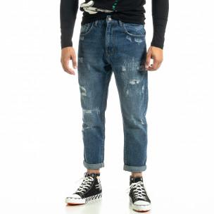 Loose fit Destroyed мъжки сини дънки  2
