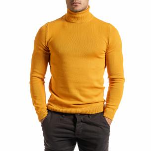 Мъжко оранжево поло от памучна смес