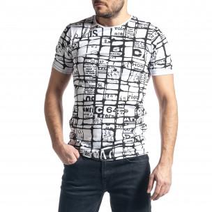 Мъжка тениска Raster в бяло