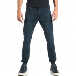Мъжки сиво-син панталон с еластични маншети на крачолите