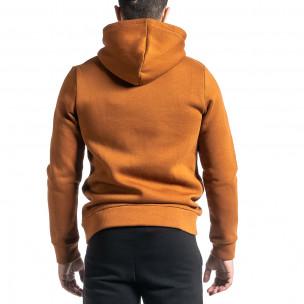 Плътен мъжки суичър с цип цвят камел Clang 2