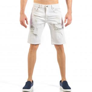 Мъжки бели къси дънки с фини кръпки