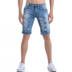 Мъжки къси дънки с декоративни скъсвания