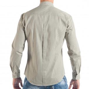 Мъжка бежова риза с дребен класически десен  2