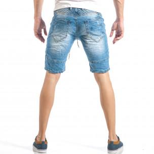 Мъжки сини къси дънки в рокерски стил  2