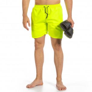 Мъжки бански зелен неон с контраст