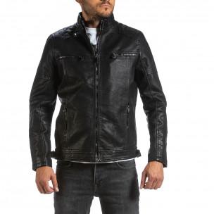 Рокерско черно кожено яке & Big Size