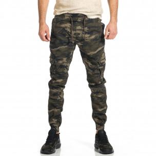 Мъжки карго панталон бежово-зелен камуфлаж