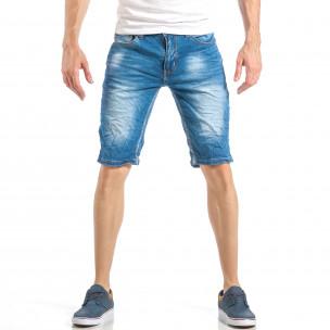 Мъжки летни къси дънки в класическо синьо