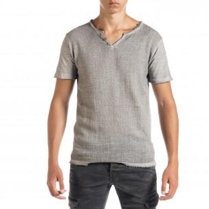 Мъжка тениска от памук и лен в сиво