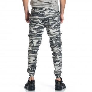 Мъжки карго панталон сив камуфлаж  2