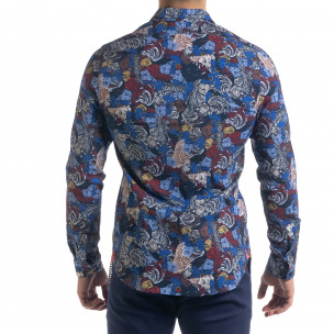 Slim fit мъжка риза десен в синьо  2