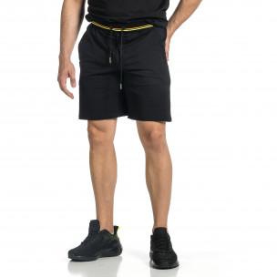 Черни мъжки шорти с неонови ивици
