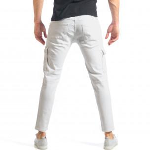 Мъжки бели дънки с карго джобове  2