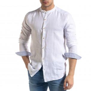 Мъжка бяла риза от лен с яка столче