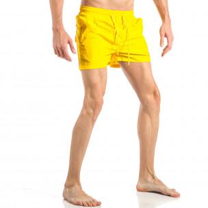 Мъжки жълт бански с трицветна лента  2