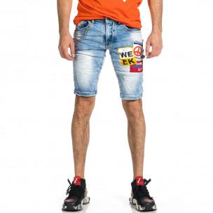 Мъжки сини къси дънки с апликации