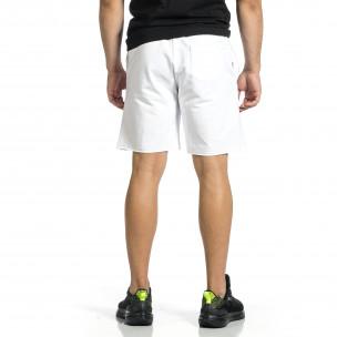 Трикотажни мъжки бели шорти с лого  2