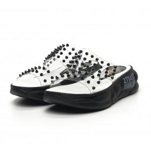 Дамски прозрачни чехли черни шипове  2