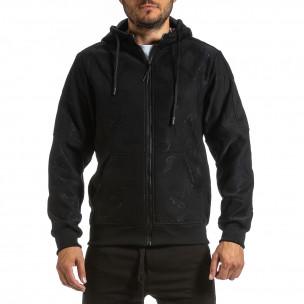 Жакардов черен суичър с цип син поларен хастар X-Feel