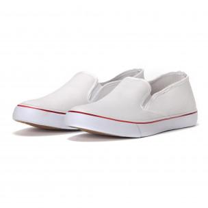Мъжки класически slip-on кецове в бяло  2