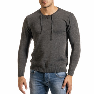 Мъжки фин сив пуловер с връзки RNT23