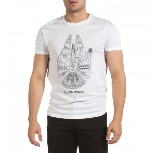 Мъжка бяла тениска с принт 2