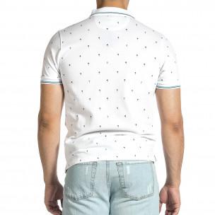 Мъжка бяла тениска пике с палми  2
