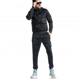 Мъжки черен спортен комплект 7джоба  2