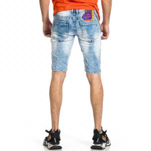 Мъжки сини къси дънки с апликации  2