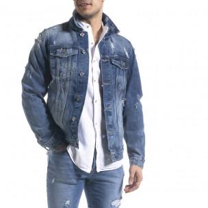 Мъжко синьо дънково яке с прокъсвания