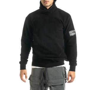 Мъжки черен суичър от полар с качулка