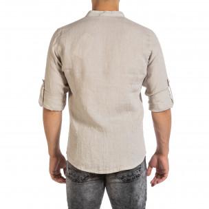 Мъжка бежова ленена риза с яка столче 2