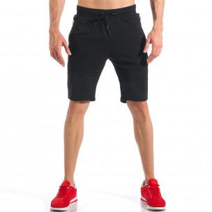 Черни мъжки шорти с ципове на крачолите