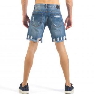 Мъжки непоръбени къси дънки в синьо  2