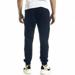 Мъжко синьо долнище с ципове на джобовете 2