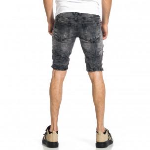 Мъжки черни къси дънки с избелял ефект  2