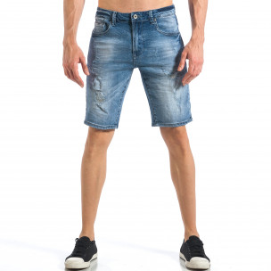 Мъжки къси сини избелели дънки с леки скъсвания