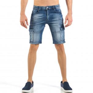 Мъжки къси карго дънки с кадифен ефект в синьо