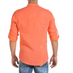 Мъжка ленена риза оранжев неон 2