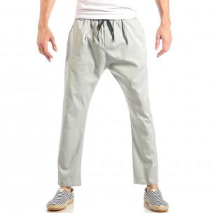 Мъжки свободен панталон в сиво с ластик