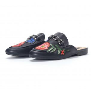 Дамски елегантни черни чехли с бродерия 2