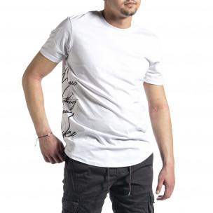 Мъжка бяла тениска страничен принт