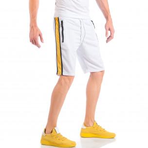 Бели мъжки шорти с контрастни ивици и ципове на джобовете  2