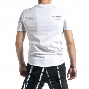 Мъжка бяла тениска с декоративен шев  2
