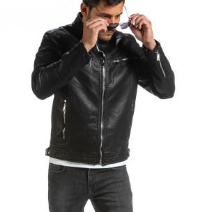 Мъжко черно кожено яке в рокерски стил Itenly