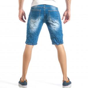 Мъжки летни къси дънки в класическо синьо  2